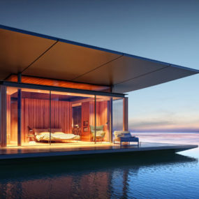 Floating Glass and Wood Mobile House