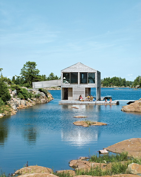 floating house integrated boathouse dock 1 Floating House with an Integrated Boathouse and Dock