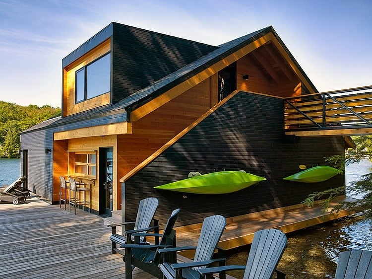 Floating Cabin With Integrated Boathouse