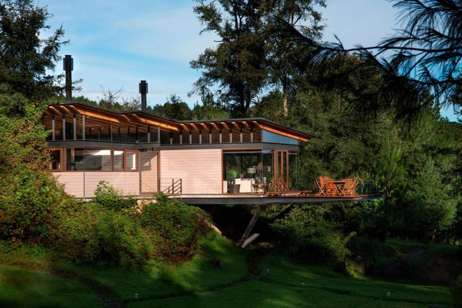 Forest house brings indoors out through glass walls terraces for Modern forest house design