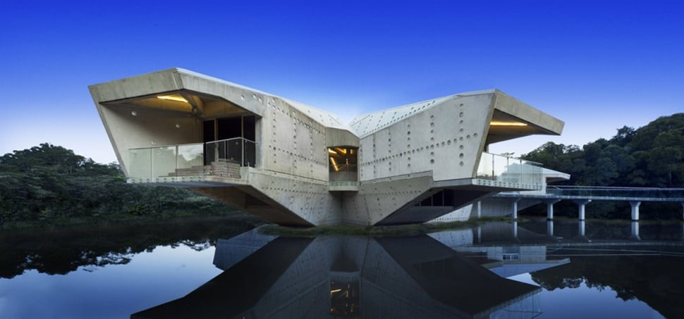 View in gallery futuristic concrete house with bridge access and eco appeal  1 thumb 630x294 12854 Futuristic