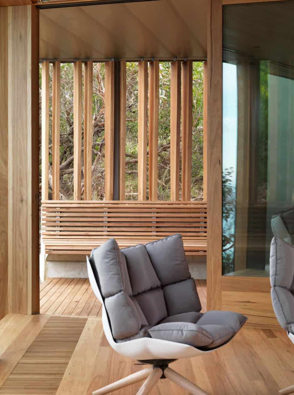 Wood Interior geometric beach house with zinc exterior, wood interior