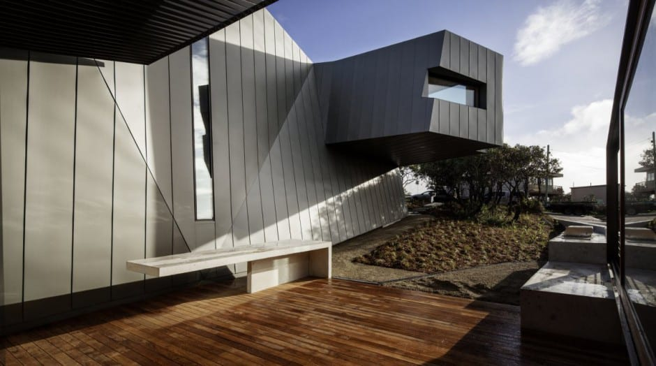 View In Gallery Geometric Beach House With Zinc Exterior Wood Interior