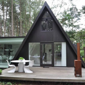 Rectangular Addition to Triangular A-frame House