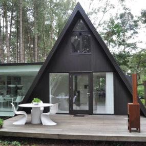 Rectangular Addition to Triangular A-frame House