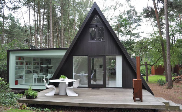 geometric garden house proves opposites attract 1 Rectangular Addition to Triangular A frame House