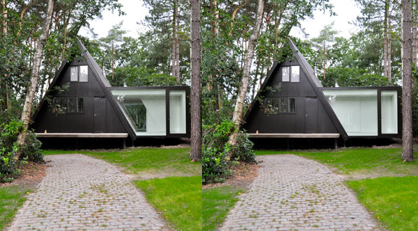 geometric garden house proves opposites attract 8 Rectangular Addition to Triangular A frame House