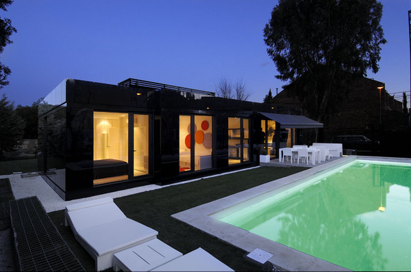 Glass Prefab Homes - Black Glass Modular Home Design by A-Cero