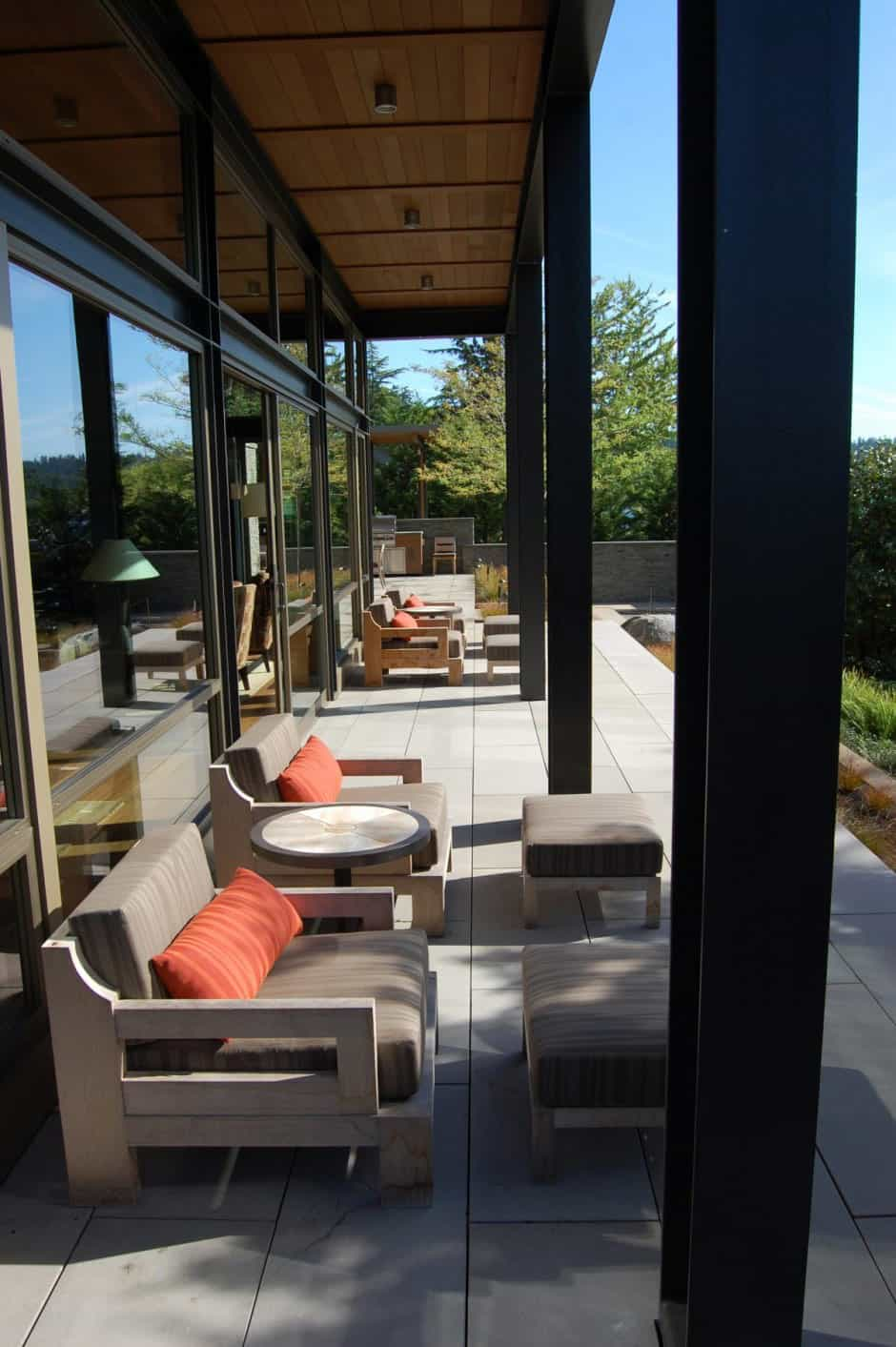 View in gallery grand glass lake house with bold steel frame