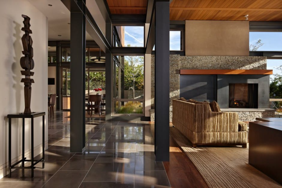 Grand glass lake house with bold steel frame | Modern ... on Glass House Design Ideas  id=59264