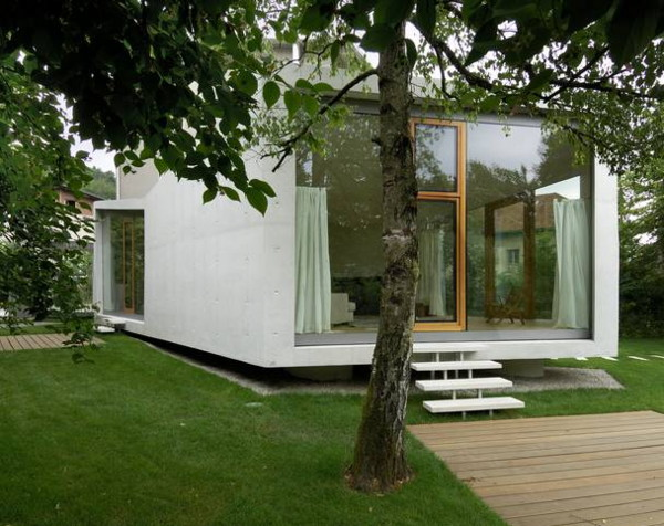 Modern Home Addition is in the garden