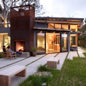 Luxury Hidden Hillside Home in Carmel Valley, California with a grass-topped roof