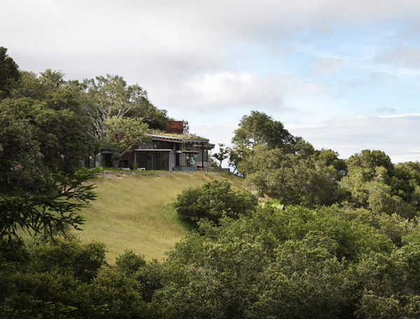 house ocho 2 Luxury Hidden Hillside Home in Carmel Valley, California with a grass topped roof
