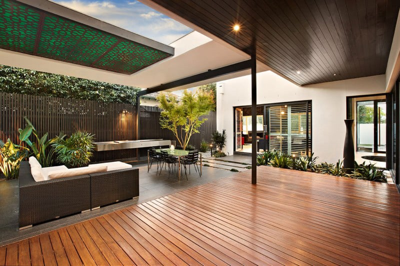 indoor outdoor house design with alfresco terrace living area 4 - 40+ Modern House Design For Small Area Pics