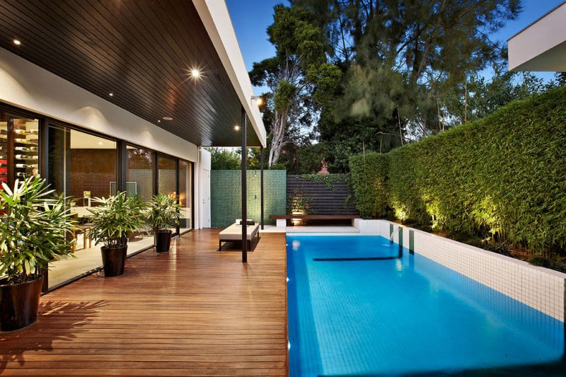 Outdoor home pool  Indoor outdoor house design with alfresco terrace living area