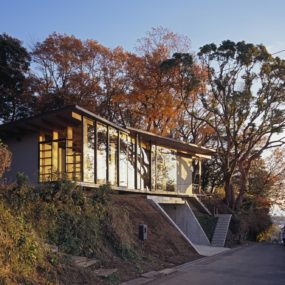 Japanese Residence with Wood and Glass Geometry