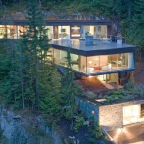 Mountain Chalet is built into the mountain, for a snowboarding pro Marc Morisset