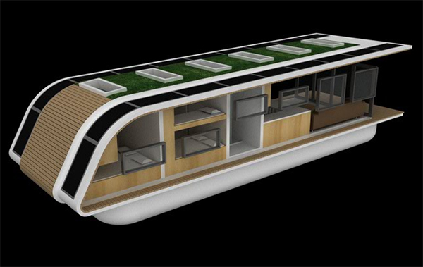 kingsley mobile floating 3 Eco Friendly Mobile Floating Architecture   off the grid solar home