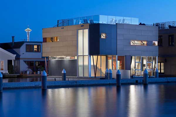 lake union floating home 1 Floating Home by Vandeventer + Carlander Architects   Luxury Living on Lake Union, Seattle