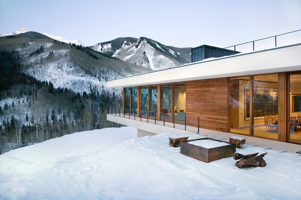 Linear Mountain House of Wood, Gl and Chalet Charm on lake house deck designs, beach house deck designs, ranch house deck designs,