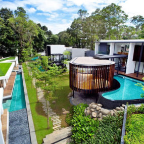 Luxury House with Layered Gardens and Screened Circular Pavilion
