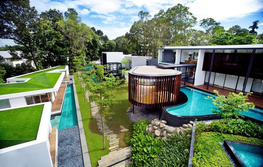 View In Gallery Luxury Layered House And Gardens With Screened Circular  Pavilion 2 Thumb 630x401 28025 Luxury House With
