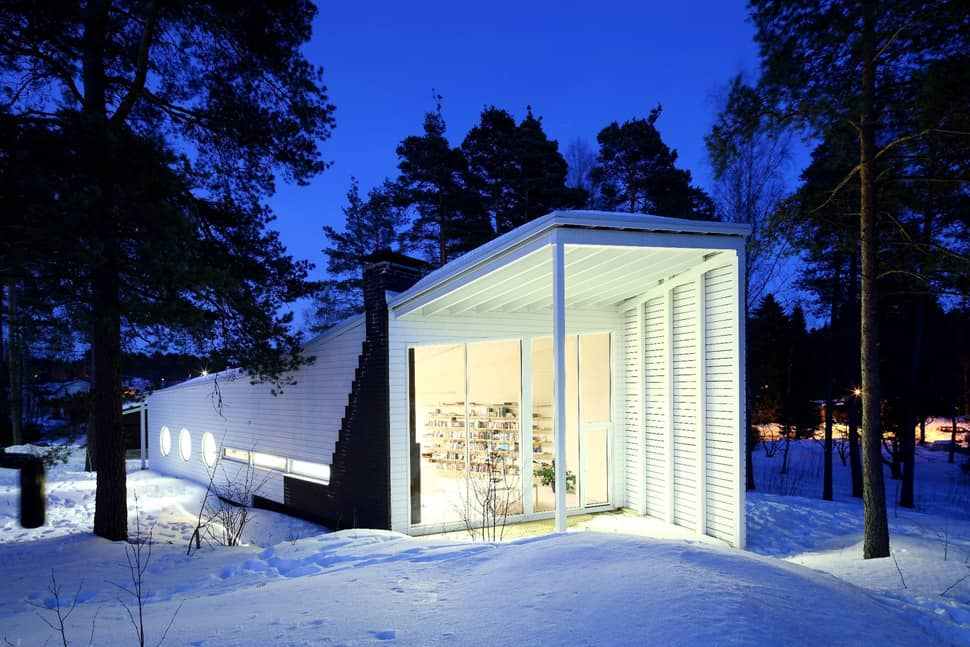 Minimalist Wood Boat House Floating In Finland Forest