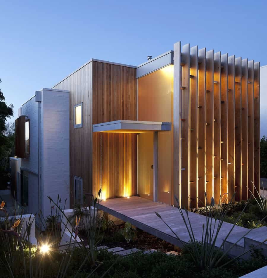 Modern architecture versus vintage interior for Building exterior lighting design