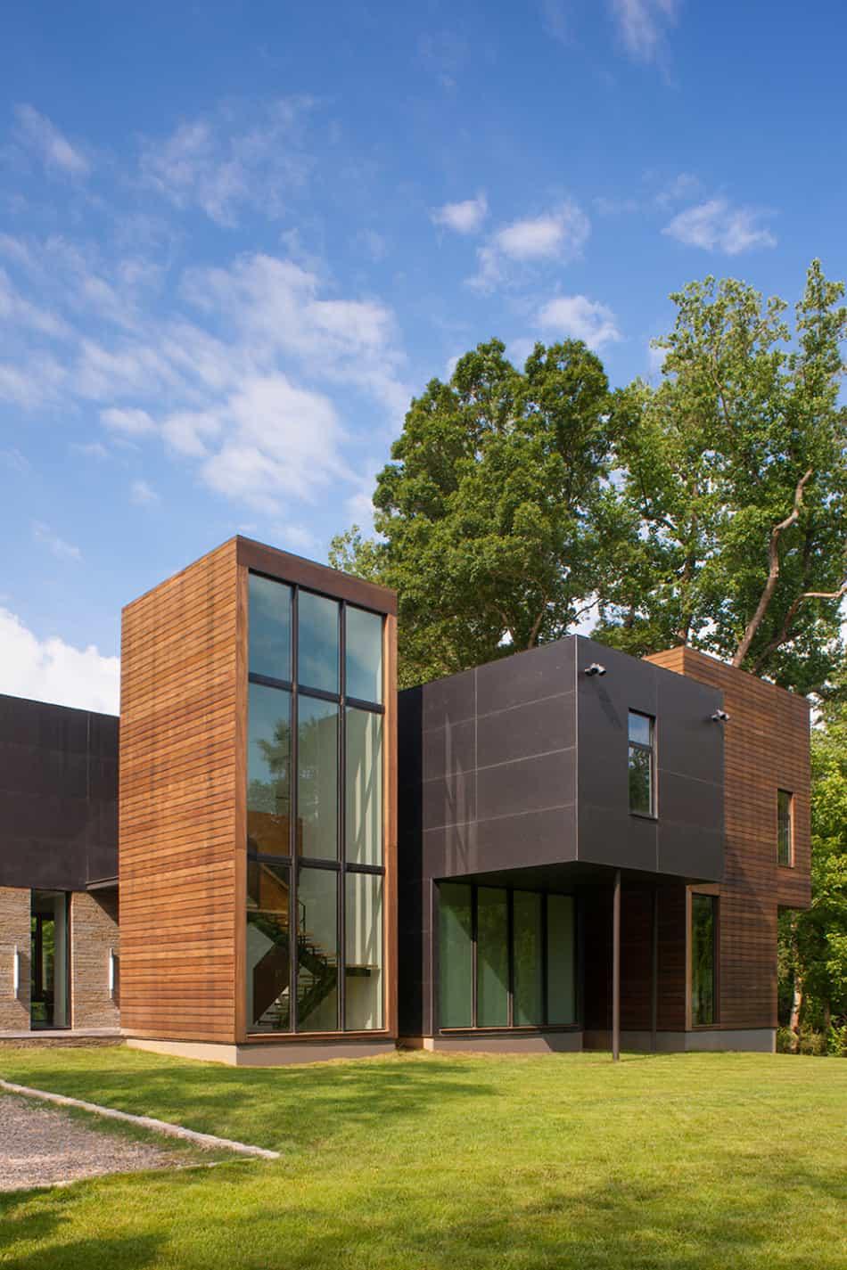 Modern Box House with Interior Glass Bridges   Modern ... on Modern Glass House Design  id=69291