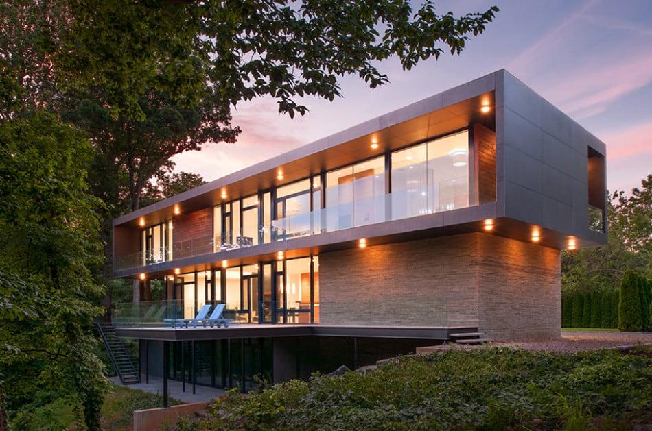 Modern box house with interior glass bridges for Box house design