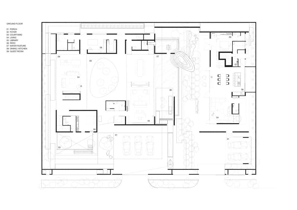 Home with underground courtyard and rooftop gardens for Old world house plans courtyard