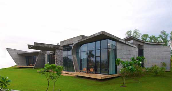 Modern indian architecture on ganges river Indian modern house