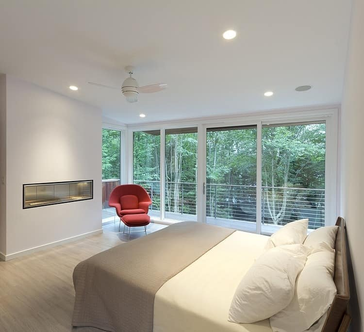 View In Gallery Modern Massachusetts Woodland House With Two Story Ceilings