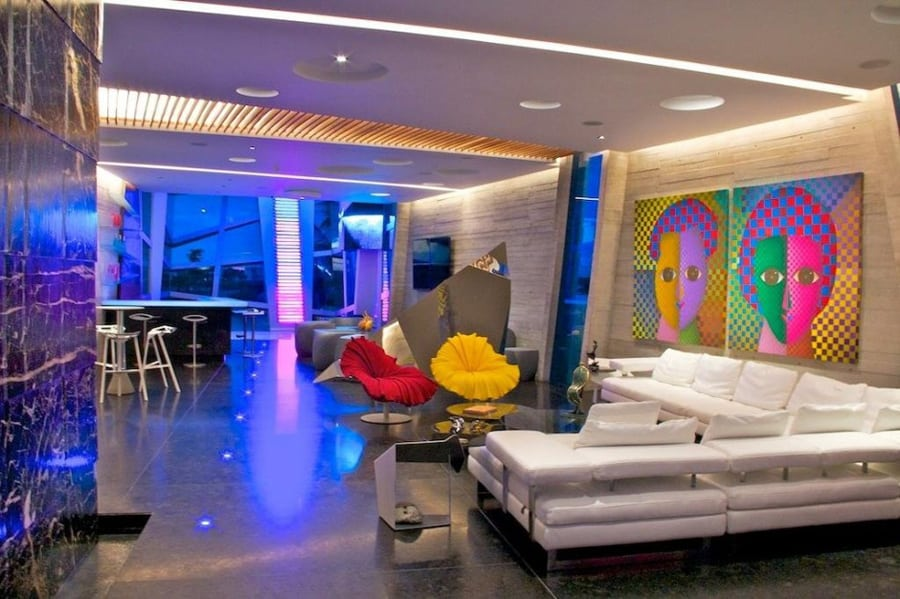 Modernist Mexican house with abstract shape and exciting lighting