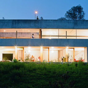 Concrete Prefab House – contemporary design in Switzerland, filled with popular modern furniture