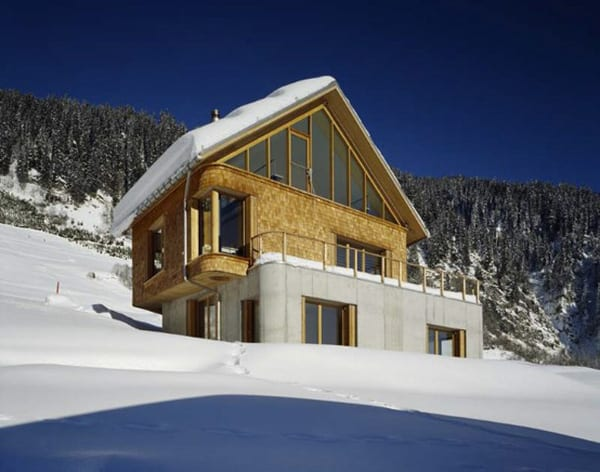 mountain chalet plan concrete and wood architecture 1