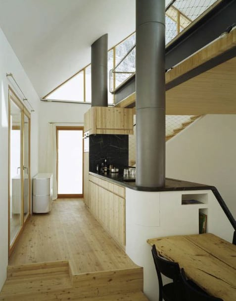 mountain chalet plan concrete and wood architecture 2