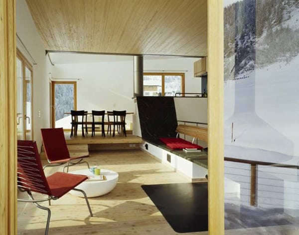 mountain chalet plan concrete and wood architecture 3