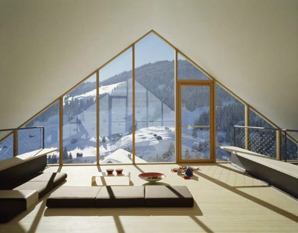 mountain chalet plan concrete and wood architecture 5