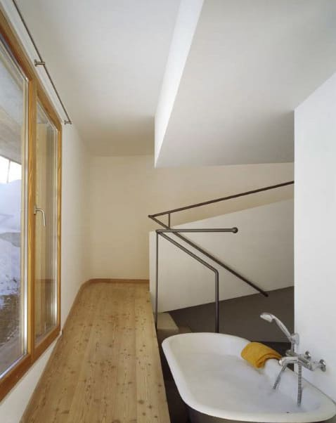 mountain chalet plan concrete and wood architecture 6