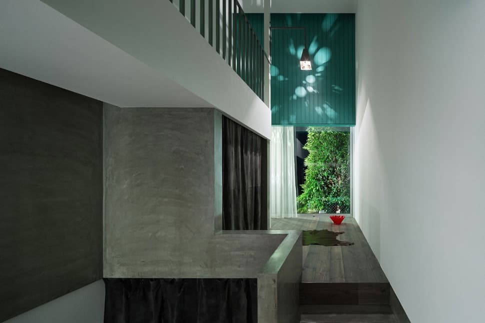 View In Gallery Narrow Urban Home With Concrete Walls And Upper