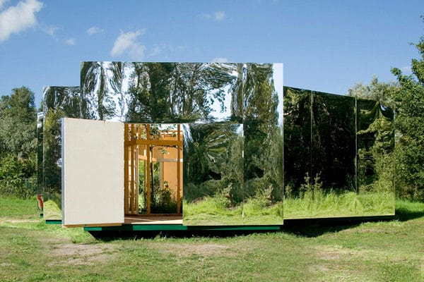 Outdoor pavilion design with mirrors for Pavilion style home designs