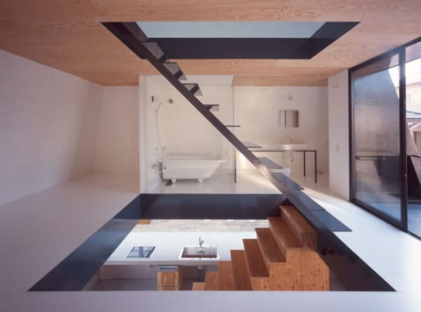 raised house plan modern open stairwell 7 Pyramid Architecture ... in Japan