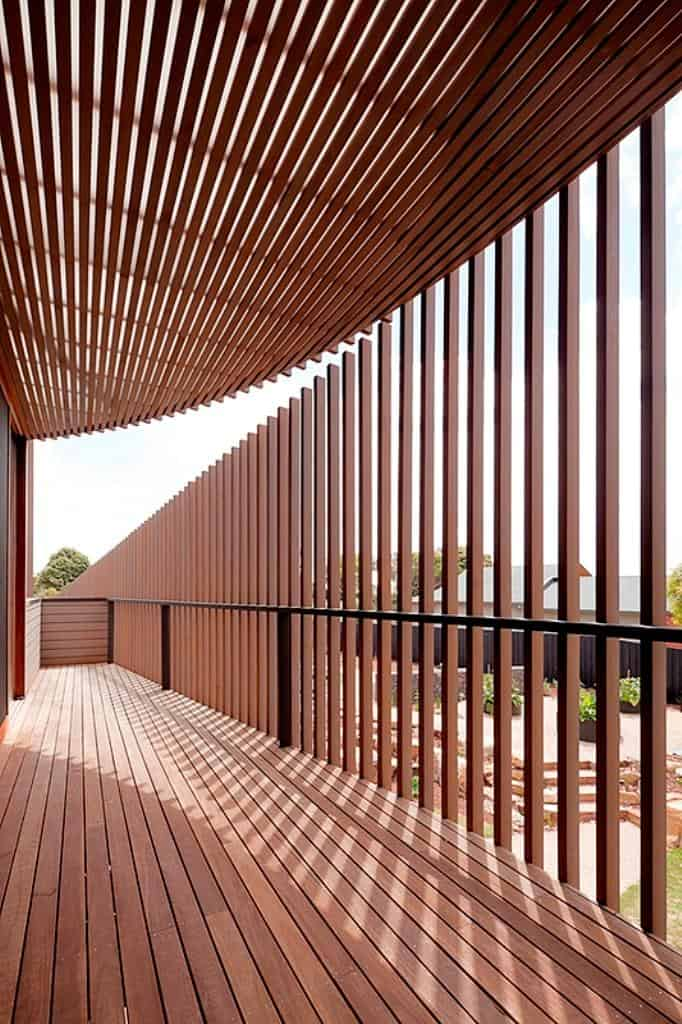 slat ceiling ideas - Rectangular Wooden House With Slatted Circular Facade