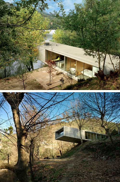 Riverfront architecture contemporary concrete house for Riverfront house plans