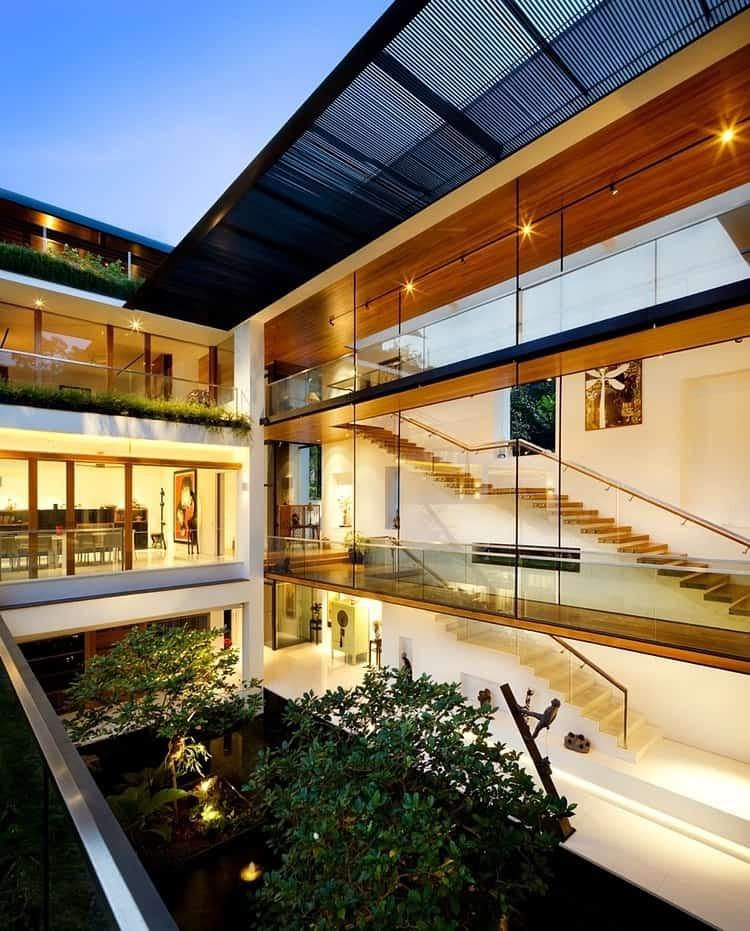 view in gallery rooftop lawn house with huge glass walls 6 - Huge Modern Houses