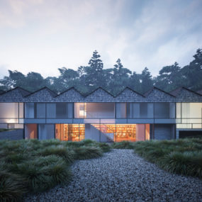 Saw-Roofed House with Circular Layout is All About Symmetry