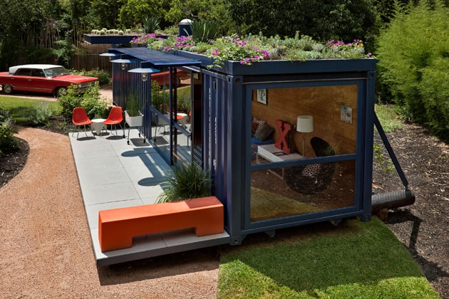 shipping container guest house with rooftop garden 2 right side Shipping Crate House With Rooftop Garden