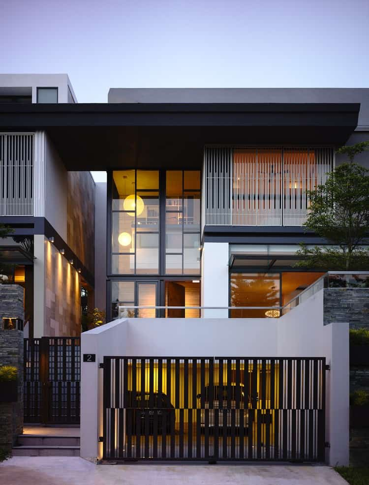View In Gallery Slatted Facade House With Sleek Adjoined Apartment 6