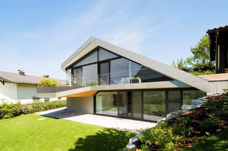 Slope roof house with futuristic interiors